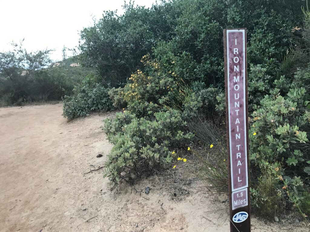 Trail markers for Iron Mountain Hike San Diego